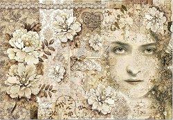 Декупажна хартия - Момиче и цветя - Размери 50 x 35 cm