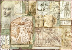 Декупажна хартия - Леонардо да Винчи - Размери 50 x 35 cm