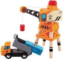 Карго кран и самосвал - Детска дървена играчка -