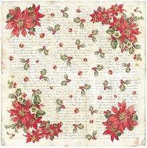 Декупажна хартия - Коледни цветя - Размери 50 x 50 cm