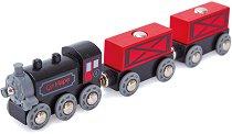 """Товарен влак с парен локомотив - Детска дървена играчка от серията """"Hape: Влакчета"""" - играчка"""