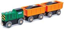 """Товарен влак с дизелов локомотив - Детска дървена играчка от серията """"Hape: Влакчета"""" -"""