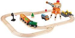 """Влакова композиция с релси и карго кран - Детска дървена играчка от серията """"Hape: Влакчета"""" -"""
