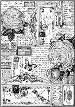 Декупажна хартия - Писма и рози - Формат А4