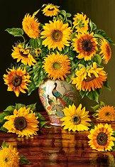 Слънчогледи във ваза с паун - пъзел