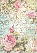 Декупажна хартия - Рози и надписи - Формат А4