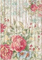 Декупажна хартия - Цветя на дървен фон - Формат А4