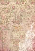 Декупажна хартия - Цветчета и дантела - Формат А4