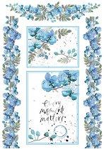 Декупажна хартия - Акварелни сини теменужки - Формат А4