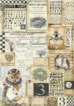 Декупажна хартия - Бухал и азбука - Формат А4