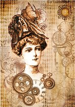 Декупажна хартия - Жена с шапка - Формат А4