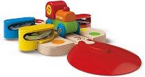 """Звуците на тамбурина - Детска дървена играчка от серията """"Hape: Влакчета"""" -"""