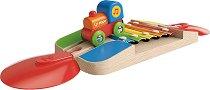 """Весел ксилофон - Детска дървена играчка от серията """"Hape: Влакчета"""" - играчка"""