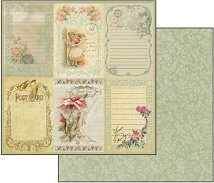 Хартия за скрапбукинг - Винтидж картички - Размери 30.5 х 30.5 cm