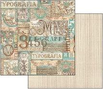 Хартия за скрапбукинг - Калиграфия - Размери 30.5 х 30.5 cm