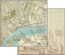 Хартия за скрапбукинг - Карта на Ню Йорк - Размери 30.5 х 30.5 cm