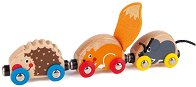 """Вагончета животни - Детска дървена играчка от серията """"Hape: Влакчета"""" -"""