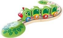 """Влакче гъсеничка - Детска дървена играчка от серията """"Hape: Влакчета"""" -"""
