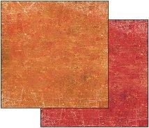 Хартия за скрапбукинг - Пастелно оранжево-червено - Размери 30.5 х 30.5 cm