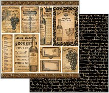 Хартия за скрапбукинг - Вино - Размери 30.5 х 30.5 cm