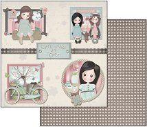 Хартия за скрапбукинг - Ема и Камил с велосипед - Размери 30.5 х 30.5 cm