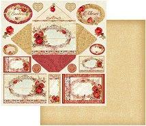Хартия за скрапбукинг - Картички с рози - Размери 30.5 х 30.5 cm