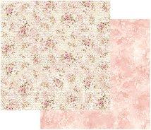 Хартия за скрапбукинг - Рози и надписи - Размери 30.5 х 30.5 cm