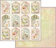Хартия за скрапбукинг - Цветя и пеперуди - Размери 30.5 х 30.5 cm