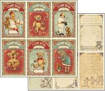 Хартия за скрапбукинг - Картички с мечета - Размери 30.5 х 30.5 cm
