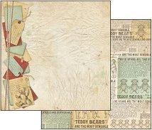 Хартия за скрапбукинг - Вестникът на плюшеното мече - Размери 30.5 х 30.5 cm