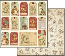 Хартия за скрапбукинг - Тагове с мечета - Размери 30.5 х 30.5 cm