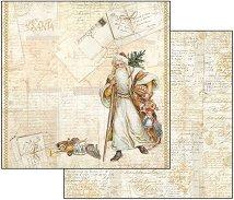 Хартия за скрапбукинг - Писма до Дядо Коледа - Размери 30.5 х 30.5 cm