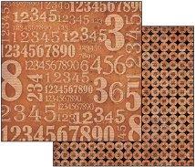 Хартия за скрапбукинг - Цифри - Размери 30.5 х 30.5 cm