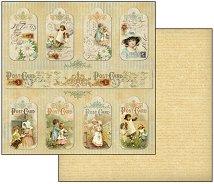 Хартия за скрапбукинг - Тагове - Размери 30.5 х 30.5 cm