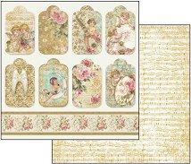 Хартия за скрапбукинг - Ангели и тагове - Размери 30.5 х 30.5 cm