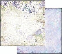 Хартия за скрапбукинг - Глициния и птици - Размери 30.5 х 30.5 cm