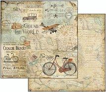Хартия за скрапбукинг - Околосветско пътешествие - Размери 30.5 х 30.5 cm