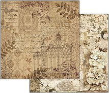 Хартия за скрапбукинг - Дантела и цветя - Размери 30.5 х 30.5 cm