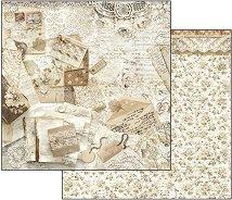 Хартия за скрапбукинг - Стари писма и дантели - Размери 30.5 х 30.5 cm