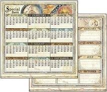 Хартия за скрапбукинг - Календар - Размери 30.5 х 30.5 cm