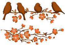 Шаблон - Птици и клонки - Размери 21 х 29.7 cm