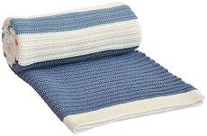 Бебешко памучно плетено одеяло - Stripes - Размер 75 x 100 cm -