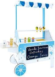Количка за сладолед - Детска дървена играчка -