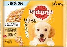 Pedigree Pouch Meat Menu in Jelly Junior - Два вида месо в желе за кученца на възраст от 2 ÷ 12 месеца - опаковка от 4 пауча x 100 g -