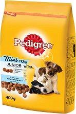 Pedigree Dry Chicken & Rice Junior Mini - Суха храна с пилешко и ориз за кученца от дребни породи на възраст от 2 ÷ 12 месеца - чували от 400 g и 11 kg -