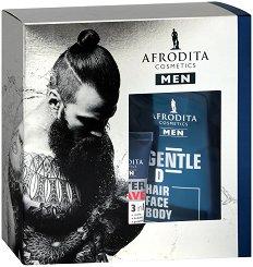Подаръчен комплект за мъже - Afrodita Cosmetics Men Sensitive - Душ гел, лосион и балсам за след бръснене за чувствителна кожа -