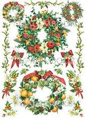 Декупажна хартия - Коледни венци 278