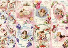 Декупажна хартия - Ангели и цветя 265