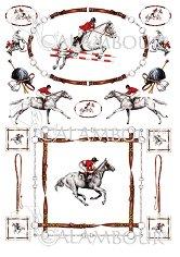 Декупажна хартия - Жокеи и коне 166