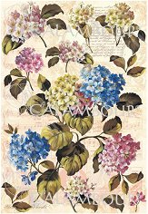 """Декупажна хартия - Хортензии 187 - Серия """"Digital Collection Mulberry"""""""